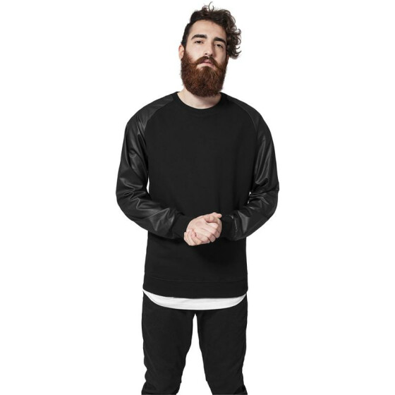 Urban Classics Raglan Leather Imitation Crew, blk/blk L