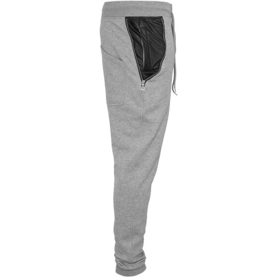 Urban Classics Side Zip Leather Pocket Sweatpant, gry/blk S