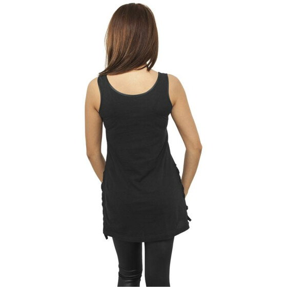 Urban Classics Ladies Leather Imitation Side Knotted Tank, blk/blk XS