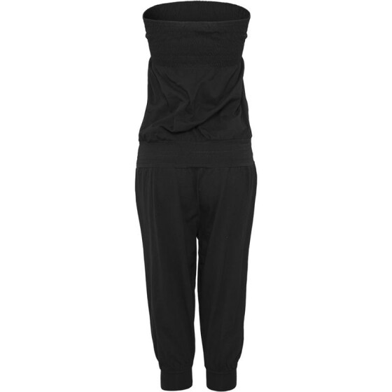 Urban Classics Ladies Shoulderfree Capri Jumpsuit, black XS