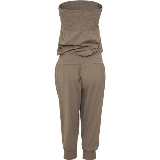 Urban Classics Ladies Shoulderfree Capri Jumpsuit, stone S