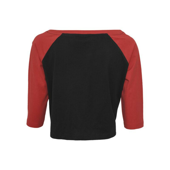 Urban Classics Ladies Cropped 3/4 Raglan Tee, blk/red S