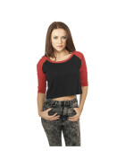 Urban Classics Ladies Cropped 3/4 Raglan Tee, blk/red L