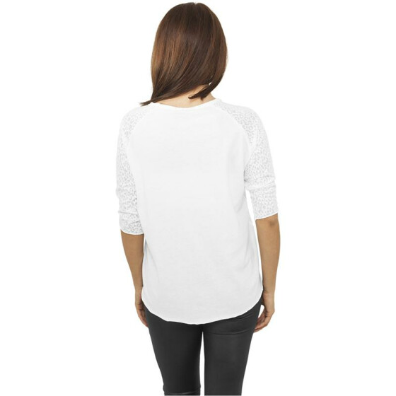Urban Classics Ladies 3/4 Sleeve Wide Burnout Tee, white L