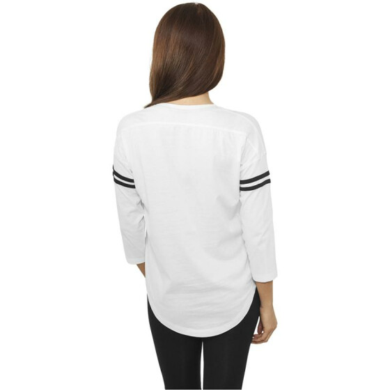 Urban Classics Ladies Sleeve Striped L/S Tee, wht/blk XL
