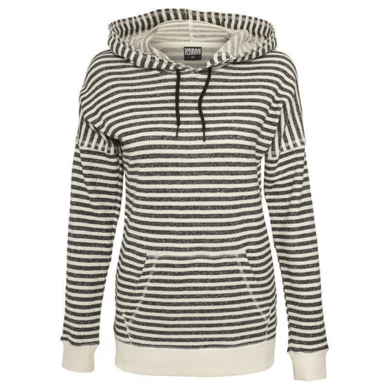 Urban Classics Ladies Stripe Terry Hoody, offwhite/darkgrey L