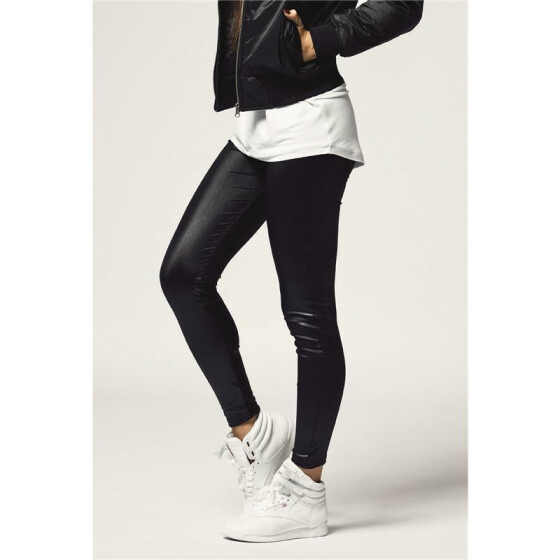 Urban Classics Ladies Leather Imitation Leggings, black XS