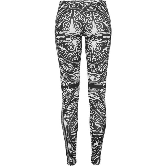 Urban Classics Ladies Ornament Leggings, blk/wht XL