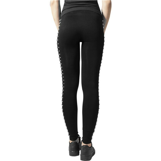 Urban Classics Ladies Side Rivets Leggings, blk/silver XS