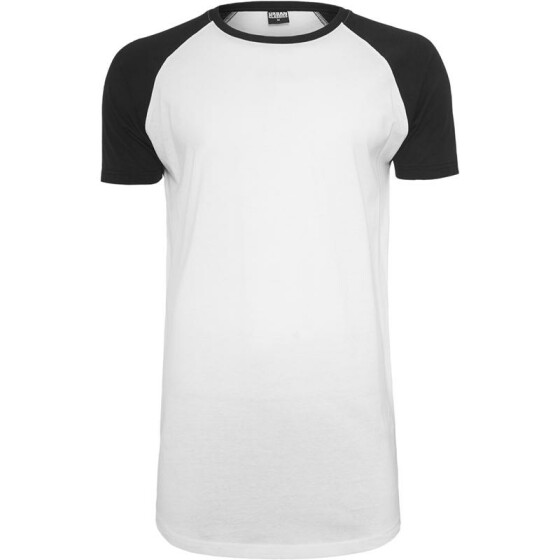 Urban Classics Shaped Raglan Long Tee, wht/blk S