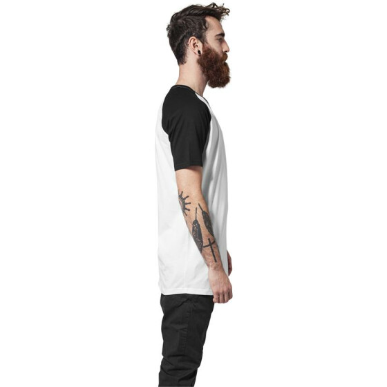 Urban Classics Shaped Raglan Long Tee, wht/blk M