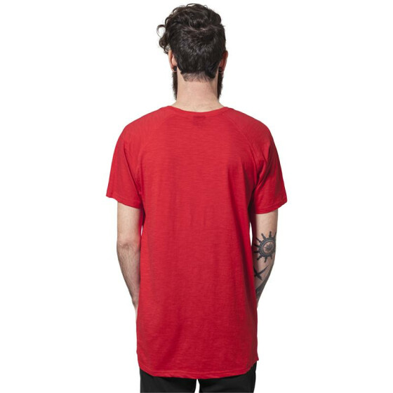 Urban Classics Long Shaped Slub Raglan Tee, fire red  XL
