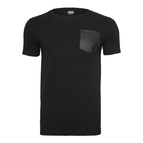 Urban Classics Leather Imitation Pocket Tee, blk/blk L