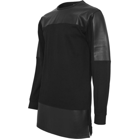 Urban Classics Leather Imitation Block Longsleeve, blk/blk M