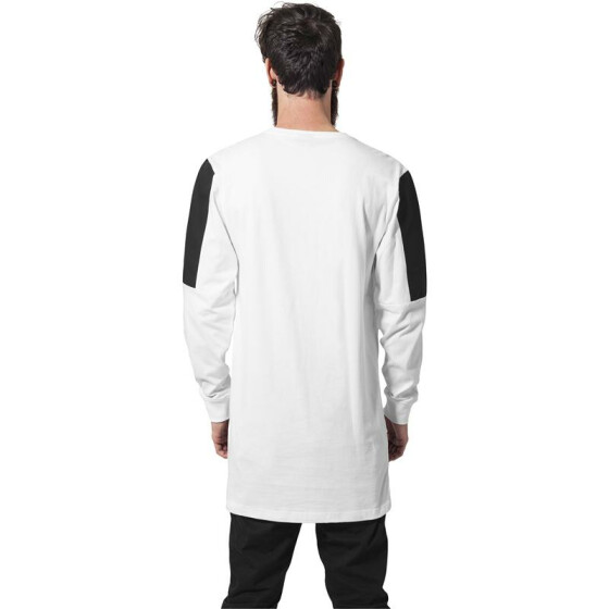 Urban Classics Leather Imitation Block Longsleeve, wht/blk M