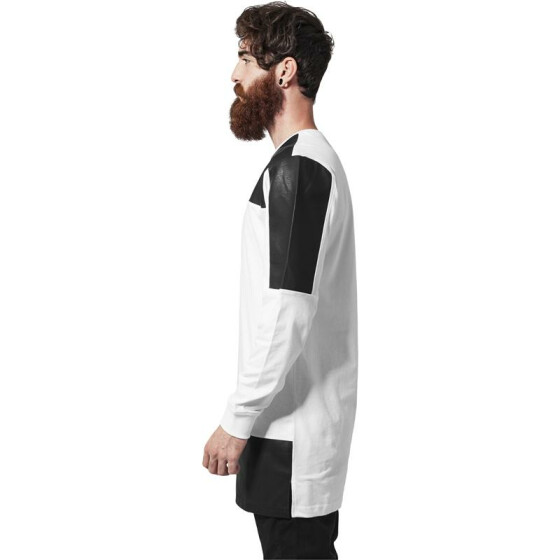 Urban Classics Leather Imitation Block Longsleeve, wht/blk L