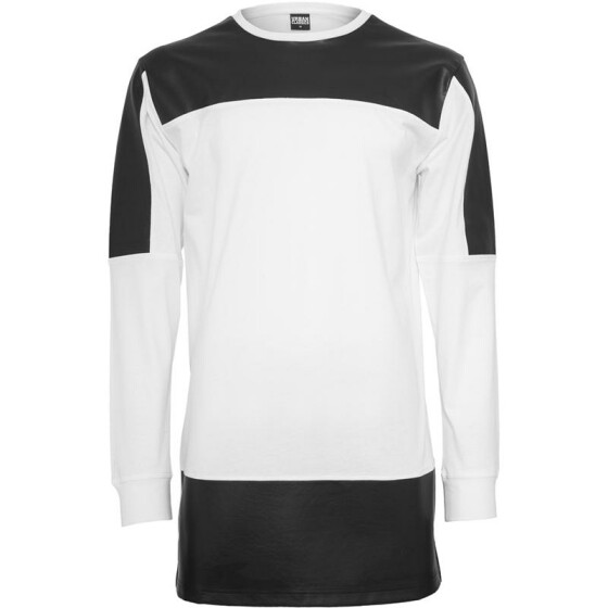 Urban Classics Leather Imitation Block Longsleeve, wht/blk XL