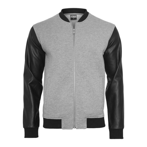 Urban Classics Zipped Leather Imitation Sleeve Jacket, gry/blk S