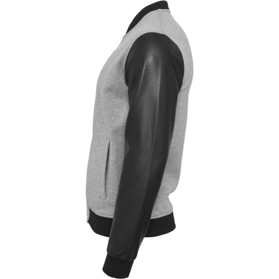 Urban Classics Zipped Leather Imitation Sleeve Jacket, gry/blk L