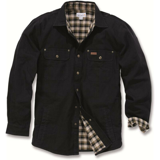 CARHARTT Weathered Canvas Shirt Jacket, schwarz XXL