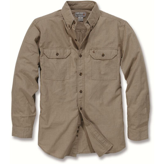 CARHARTT Fort Solid Long Sleeve Shirt, hellbraun M
