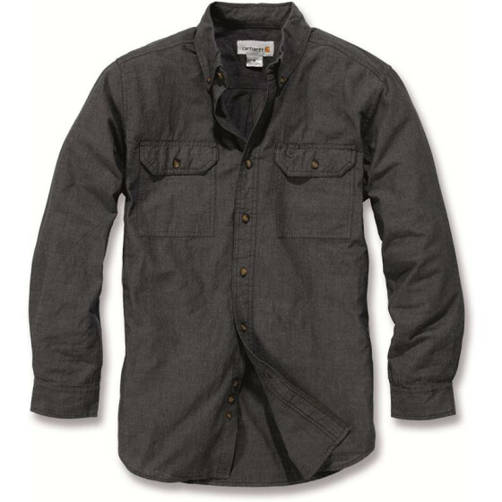 CARHARTT Fort Solid Long Sleeve Shirt, schwarz XXL