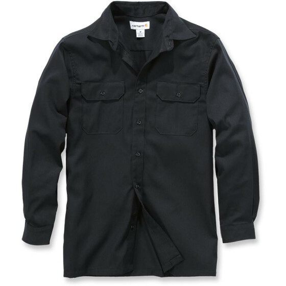 CARHARTT Twill Long Sleeve Work Shirt, schwarz L