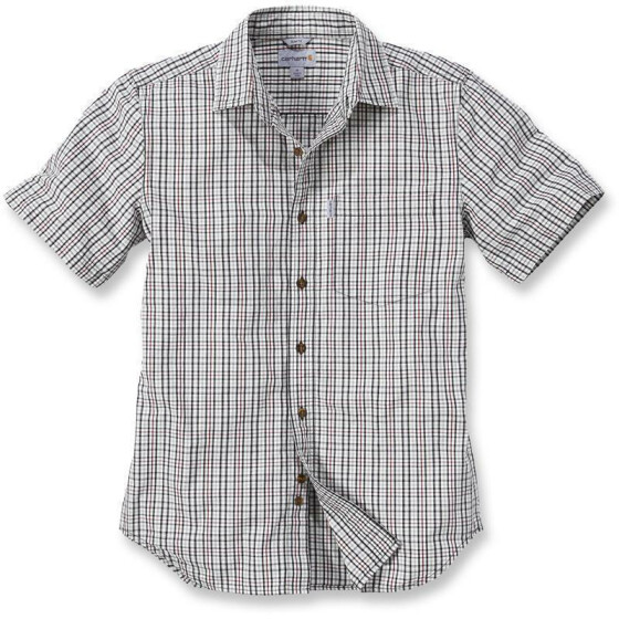 CARHARTT Slim Fit Plaid Short Sleeve Shirt, sand L