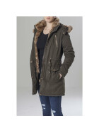 Urban Classics Ladies Imitation Fur Parka, darkolive